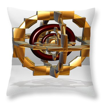 Throw Pillow featuring the digital art Burgundy And Gold by Melissa Messick