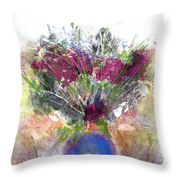 Burgundy Bouquet In A Blue Vase Throw Pillow