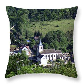 Burgundy Village Throw Pillow