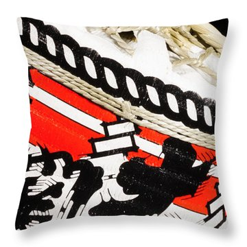 Burlap And Jute Throw Pillow by Lawrence Burry