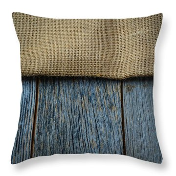 Burlap Texture On Wooden Table Background Throw Pillow