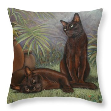 Throw Pillow featuring the painting Burmese Beauty by Cynthia House