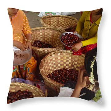 Throw Pillow featuring the photograph Burmese Ladies Sorting Water Chestnuts Zay Cho Street Market 29th Street Mandalay Burma by Ralph A  Ledergerber-Photography