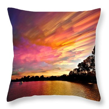 Burning Cotton Candy Flying Through The Sky Throw Pillow