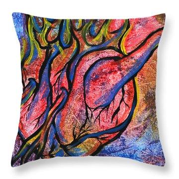 Burning Hearts Throw Pillow