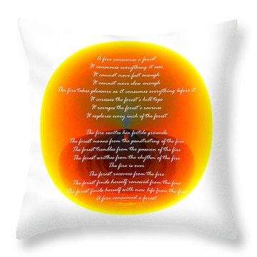 Burning Orb With Poem Throw Pillow by Brent Dolliver
