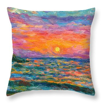 Burning Shore Throw Pillow by Kendall Kessler