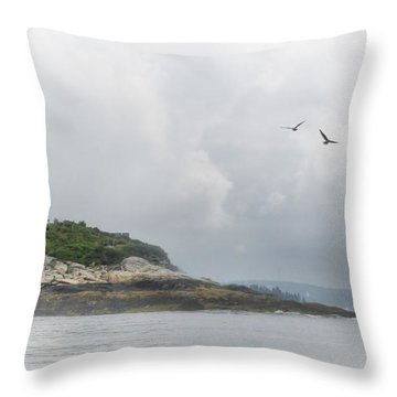 Burnt Island Light Throw Pillow by Lori Deiter