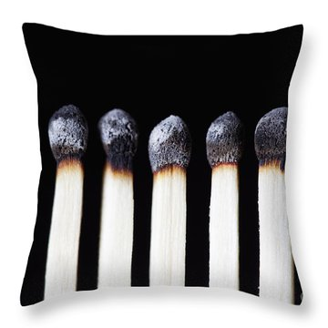 Burnt Matches On Black Throw Pillow