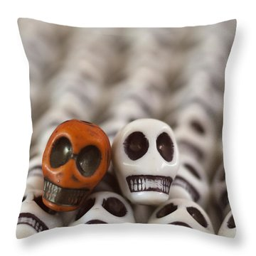 Burnt Orange And White Throw Pillow by Mike Herdering