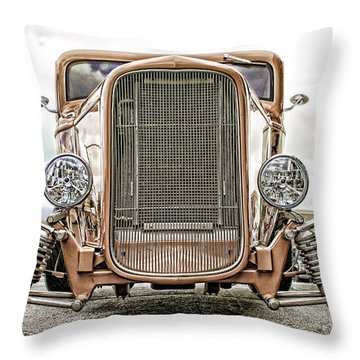 Burnt Orange Hot Rod Throw Pillow