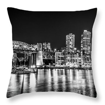 Burrard Bridge At Night Throw Pillow