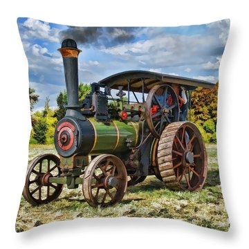 Burrell Steam Engine  Throw Pillow