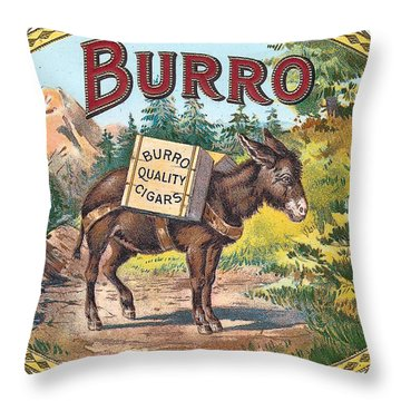 Burro Quality Of Cigars Label Throw Pillow by Label Art