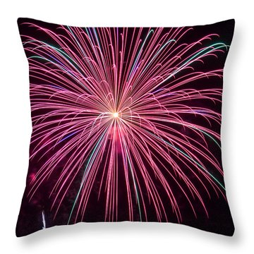 4th Of July Fireworks 24 Throw Pillow by Howard Tenke