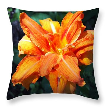 Throw Pillow featuring the photograph Burst Of Orange In The Garden by Deborah Fay