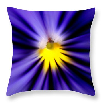 Bursting With Blue Pansy Throw Pillow