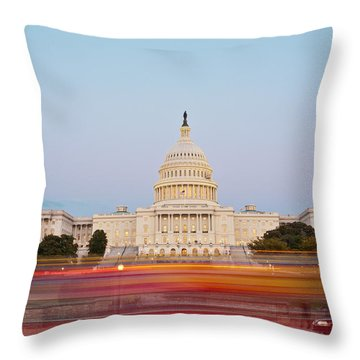 Bus Blur And U.s.capitol Building Throw Pillow by Richard Nowitz