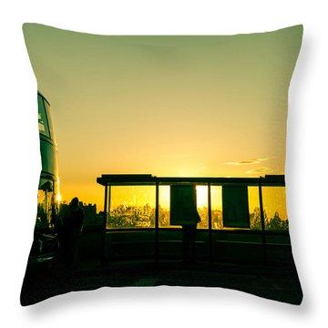 Bus Stop At Sunset Throw Pillow