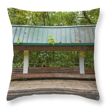 Bus Stop Bench In The Rainforest  Throw Pillow