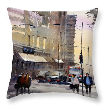 Bus Stop - Chicago Throw Pillow