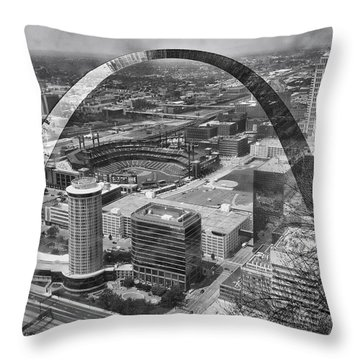 Busch Stadium Bw A View From The Arch Merged Image Throw Pillow