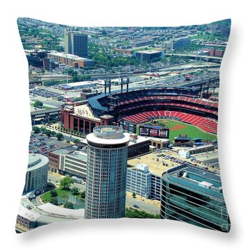Throw Pillow featuring the photograph Busch Stadium From The Top Of The Arch by Janette Boyd