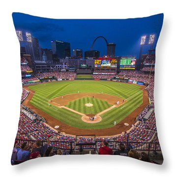 Busch Stadium St. Louis Cardinals Night Game Throw Pillow