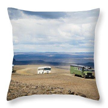 Throw Pillow featuring the photograph Buses Of Landmannalaugar by Peta Thames