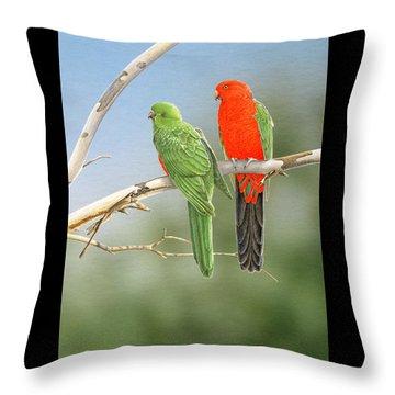 Bush Monarchs - King Parrots Throw Pillow by Frances McMahon