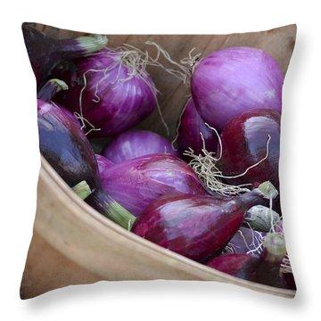 Bushel Of Red Onions Farmers Market Throw Pillow
