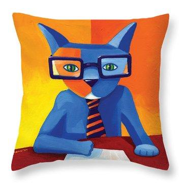 Business Cat Throw Pillow