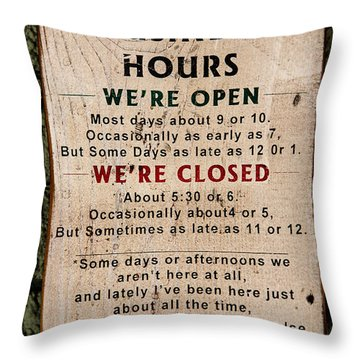 Business Hours Throw Pillow by Jon Burch Photography