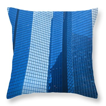 Business Skyscrapers Modern Architecture In Blue Tint Throw Pillow by Michal Bednarek