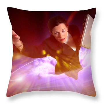 Throw Pillow featuring the photograph Business Woman Anxiety by Bob Pardue