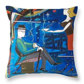Businessman Sitting In Chair Throw Pillow