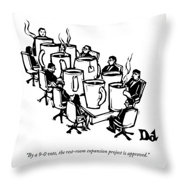Businessmen Sit Around Conference Table Throw Pillow