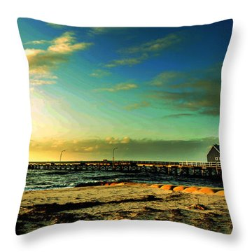 Busselton Jetty Throw Pillow by Yew Kwang
