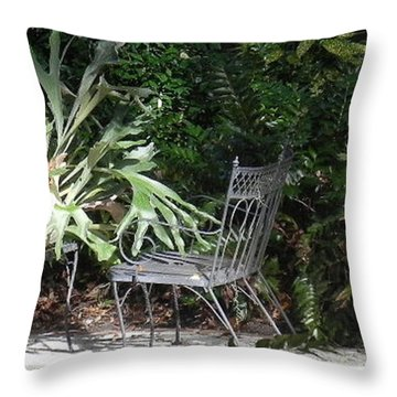 Throw Pillow featuring the photograph Bust In A Garden With Staghorn Fern by Patricia Greer