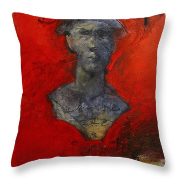 Throw Pillow featuring the painting Bust Ted - With Sawdust And Tinsel  by Cliff Spohn