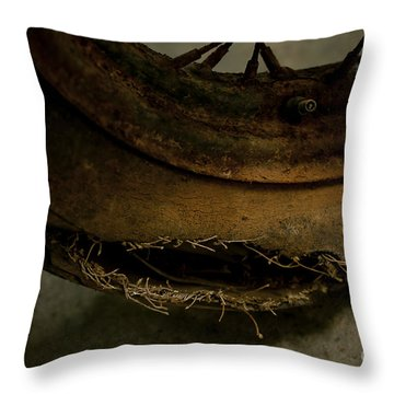 Busted Motorcycle Tire Throw Pillow by Wilma  Birdwell