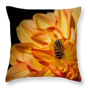 Busy Bee Dahlia Throw Pillow