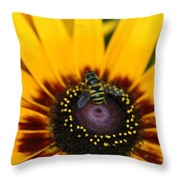 Busy Bee Throw Pillow by Denyse Duhaime