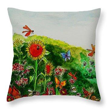 Busy Bee Garden Throw Pillow