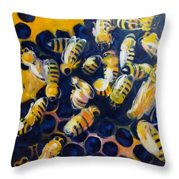 Busy Bees Throw Pillow by Rebecca Gottesman