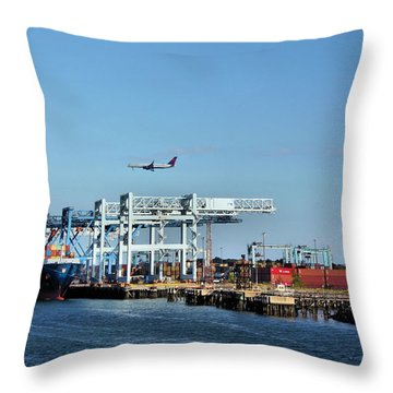 Busy Boston Throw Pillow by Kristin Elmquist