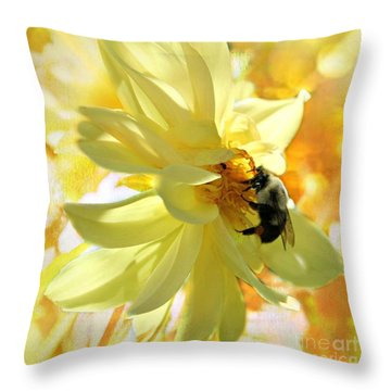 Busy Bumble Bee Throw Pillow by Judy Palkimas