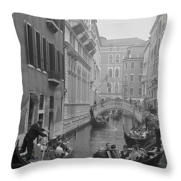 Busy Day In Venice Throw Pillow