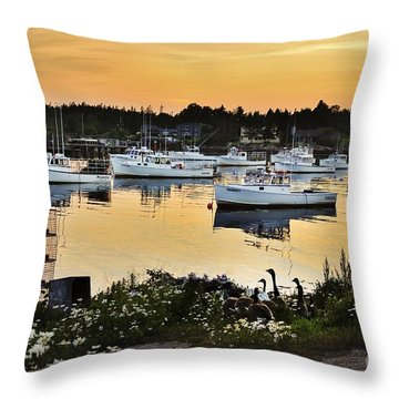Busy Harbor Throw Pillow