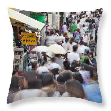 Busy Takeshita Dori Throw Pillow